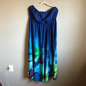 Lane Bryant Strapless Blue Floral Maxi Dress 18/20